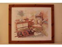 Richard Akerman clarinet and saxophone print in pine frame - £15