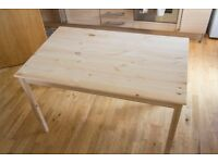 Unused Natural Wooden Table Sits 4-6 People