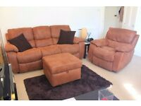 Luxury 3 seater recliner sofa, reclining armchair rocker, and pouf with storage (free cushions)