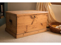 Antique Stripped Pine Blanket box/ Toy box with Lock and Key.