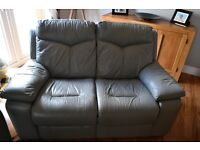 Grey Leather two and three seater electric recliner setees