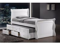 Captain Guest Bed White Storage Drawers Trundle Guest Bed 3ft , GREY PINE WHITE