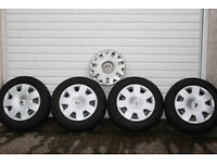 "VW Polo 2 Bridgestone, 2 Autogrip 165/70R14 Tyres / 4 Steel Wheels & 5 VW 14"" Wheel Trims"