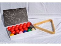 Snooker Ball Set for UK Pool Tables 2 Inch Size and wooden triangle