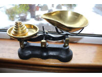 Antique brass and cast iron kitchen scales with imperial weights