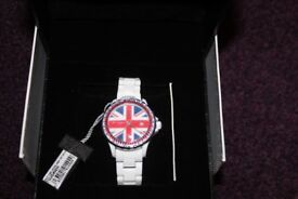 Designer Toy watch, white straps, with missing top link