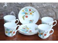 4 Vintage Retro Cups and Saucers Birds of Paradise Arklow Pottery Ireland Kitchenware Ceramic Trio