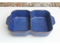 Denby Blue Divided Serving Dish Stoneware Dinnerware Oven Dish Bowl Dinner