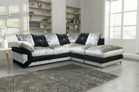 Supreme Quality -- New -- Jumbo Cord Fabric / Velvet -- Dino Corner / 3+2 Sofa -- Same Day Delivery