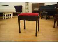 Vintage ebonies piano stool with storage and new top