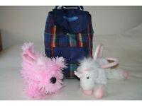 Toddler / Kids White Unicorn and Pink Dog Fluffy Handbags plus Shopping Trolley Bag / Back Pack