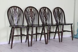 4 SOLID OAK WHEELBACK CHAIRS SOLID STURDY - CAN COURIER