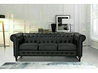 🔵💖🔴LUXURY FURNITURE🔵💖🔴CHESTERFIELD PU LEATHER SOFA 3 SEATER-CASH ON DELIVERY