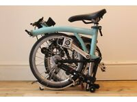 Brompton M3L folding bike, Turkish Green, Mudguards, nearly new (2017)
