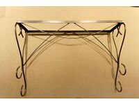 Polished Steel Console Table with Glass Top