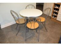 Small cafe style fold away painted Kitchen table with 4 wood/metal chairs