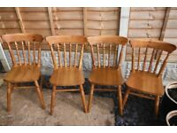 Four pine kitchen / dinning table chairs