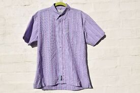 "Ben Sherman Size 3 / Large Purple and Blue Solid Cheque Short-Sleeve Casual Shirt C46"" & N15 ½"""
