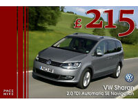 NEW VW Sharan 7 seater PCO hire / rent - UBER Hire ready - Better than Ford Galaxy - Diesel auto