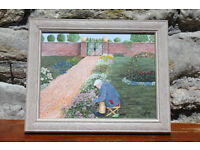 "Original Vintage Painting Titled ""Gardening Time"" by John Copeland Cheltenham Picture Art"