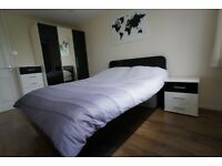 VGC Bedroom furniture: gloss black & matt white colour wardrobe, bed, chest of drawers, bedside unit