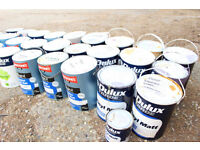 Joblot of 30 tins of Dulux and Johnsons trade Paint different colours