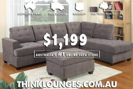 New MICRO SUEDE LOUNGE SOFA with OTTOMAN and moveable CHAISE Sydney City Inner Sydney Preview