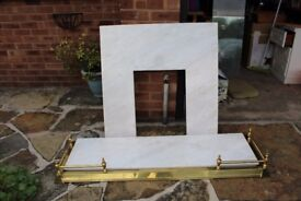 Marble hearth & backplate + brass surround