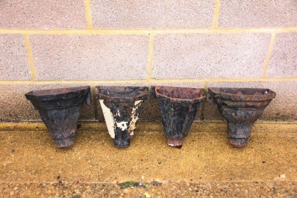 4x cast metal rainwater guttering downpipe hoppers