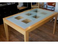 Extendable Glass Dining Table, Beech/Maple