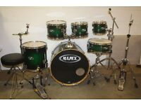 Mapex M Series Green to Black Burst Lacquer 6 Piece Full Drum Kit with Stands + Cymbal Set + Stool