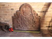 Antique Cast Iron Fireback with Crown and Shield Heraldry - 18thC