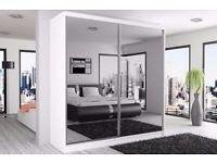 ***Hamburg *** Wardrobe Full Mirror Door 250CM Colors Black White Wenge Walnut OAKSONOMA