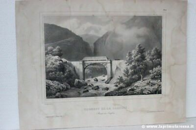 ANTICA INCISIONE TORRENT DE LA SALTINE ROUTE DU SIMPLON ANTIQUE FRENCH PRINT