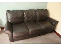 HARVEY'S 3 SEATER BROWN LEATHER SOFA