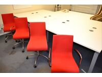 Set of 4 white office desks with red chairs