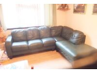 Green Leather Corner Sofa Used Couple of repair patches and one scuff