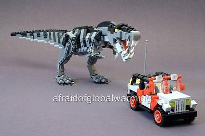 Photo. Toy Lego T Rex Dinosaur Chasing Jeep (Dinosaur Photos)