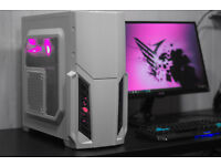 New White Gaming PC Fast Performance Quad Core 8GB AMD HD4890 Pink LED Win10 Custom Backplate
