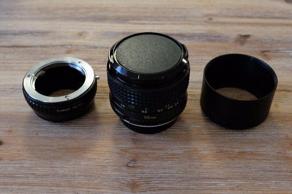 Minolta MC Rokkor PG 50mm 1.4 MD fit lens inc hood anf Fuji adapter bundle - Mint condition