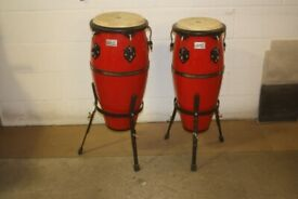Toca Player's Series Red Lacquered Wooden Conga Drums 10in + 11in x 28in deep on Stands - £225 ono