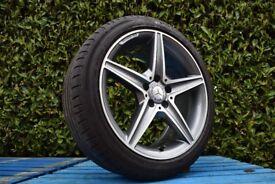"""Single Genuine 18"""" Mercedes AMG W205 C Class Rear Alloy Wheel AMG 245/40R18 Tyre"""