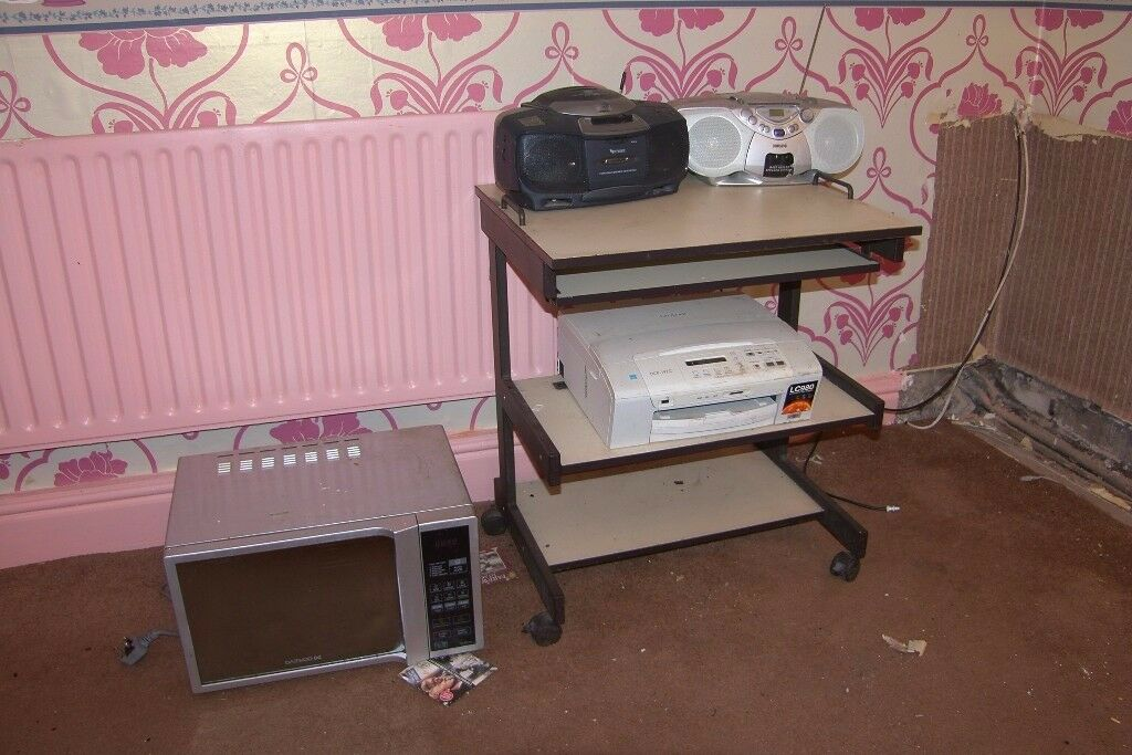 Microwave, Computer Table, Printer and Two Radios - For Sale as Job Lot