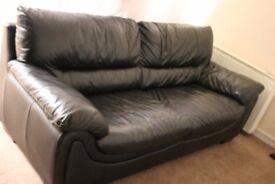 Black genuine leather sofa