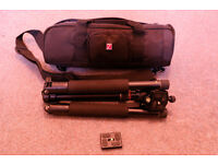 Campact travel tripod with spare quick release plate. Nearly new and almost half price.