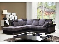 Big Brand || Low Prices || Dino 3+2 Fabric Sofas in Brown/Beige or Black/Grey