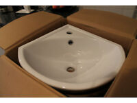 Cloakroom basin and pedestal - UNUSED