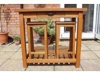 Used, Laura Ashley Brompton Oak Kitchen Breakfast Bar and two stools for sale  Yeovil, Somerset