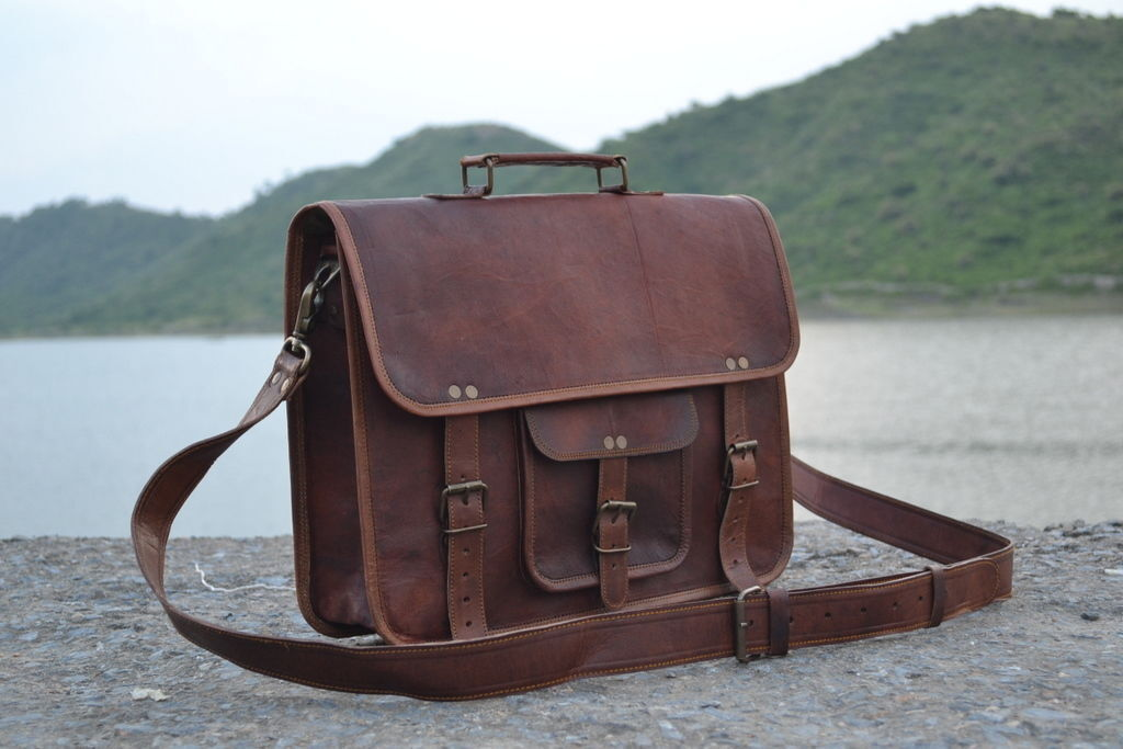 Men's Leather Messenger Laptop Distressed Satchel Briefcase