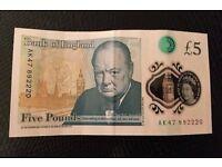 RARE AK47 £5 NOTE-PERFECT CONDITION-COLLECTORS
